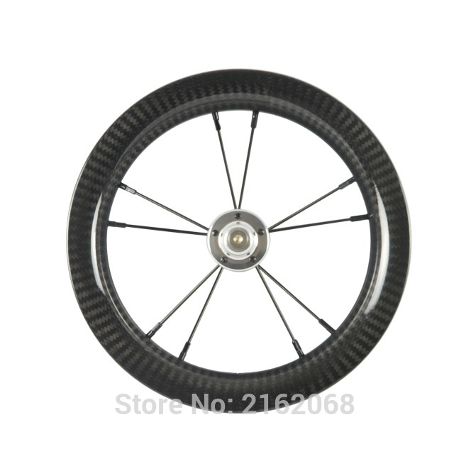 1Pcs Newest 12 inch 25mm Slide car scooter push bike twill 3K full carbon fibre bicycle clincher rims wheelset 12er Free ship 1pcs 24 inch 100
