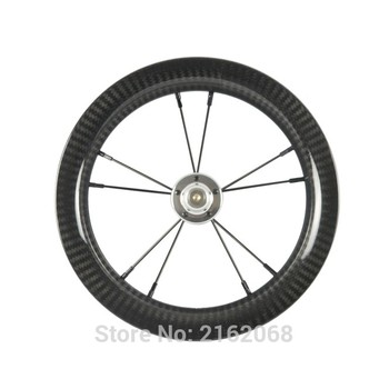 1Pcs Newest 12 inch 25mm Slide car scooter push bike twill 3K full carbon fibre bicycle clincher rims wheelset 12er Free ship