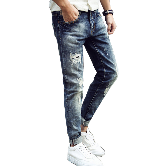 Nueva Llegada de Los Hombres Jeans Hollow Out Ripped Lamentando Vaqueros Rotos hombre denim blue stretch slim fit hip hop de moda desinger Casual