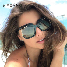 WFEANG Sunglasses Women Square Oversized Fashion Sun Glasses Lady Brand Designer Vintage Shades Gafas Oculos