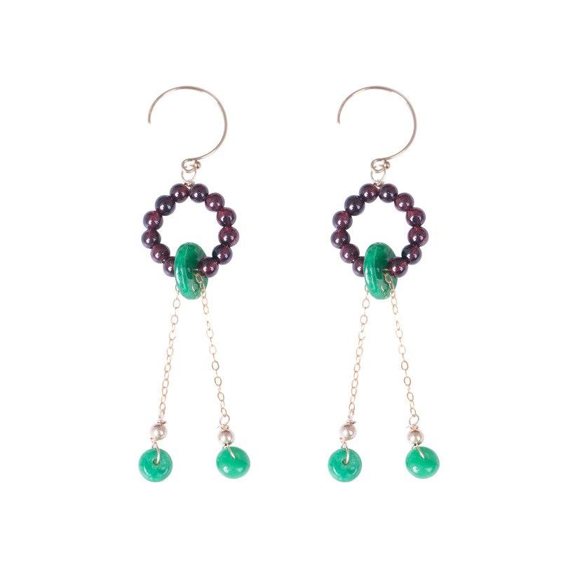 Original Handmade Long Drop Earrings For Women Natural Agate&Garnet Gem Stone Earrings Band Fashion Jewels For Wholesale цена 2017