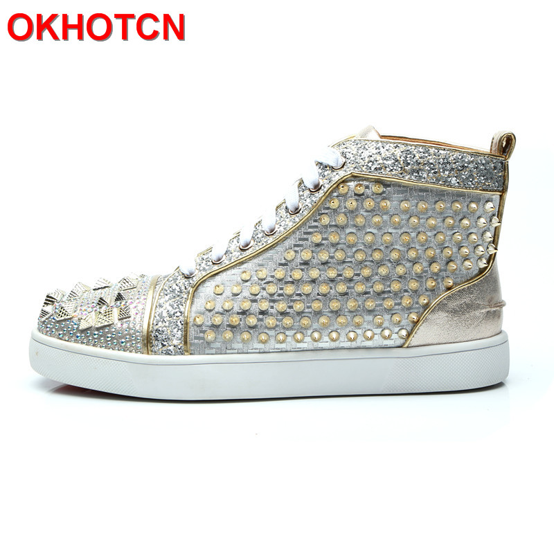 Luxury Shoes Men Silver Rhinestone Sneakers For Men Bling Rivets Mocassin Men Shoes Lace Up Casual Crystal Mens Flat Sole Shoes couples high help shoes men s 2018 new trend shoes personality rivets casual shoes gold board shoes mens flat shoes 35 44