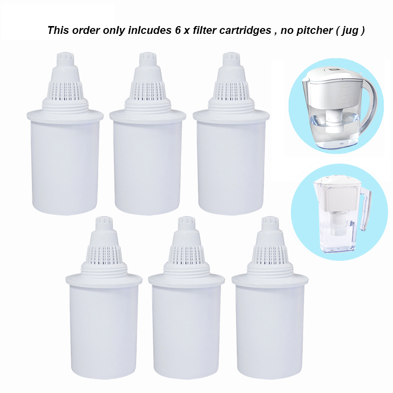 6pcs Lot Replacement Filter Cartridges for Household 2 5L and 3 5L White Alkaline Water Pitcher