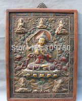 002799 38 Tibet Purple Bronze Gilt Buddhism Manjushri Buddha Statue Wood FrameThangka