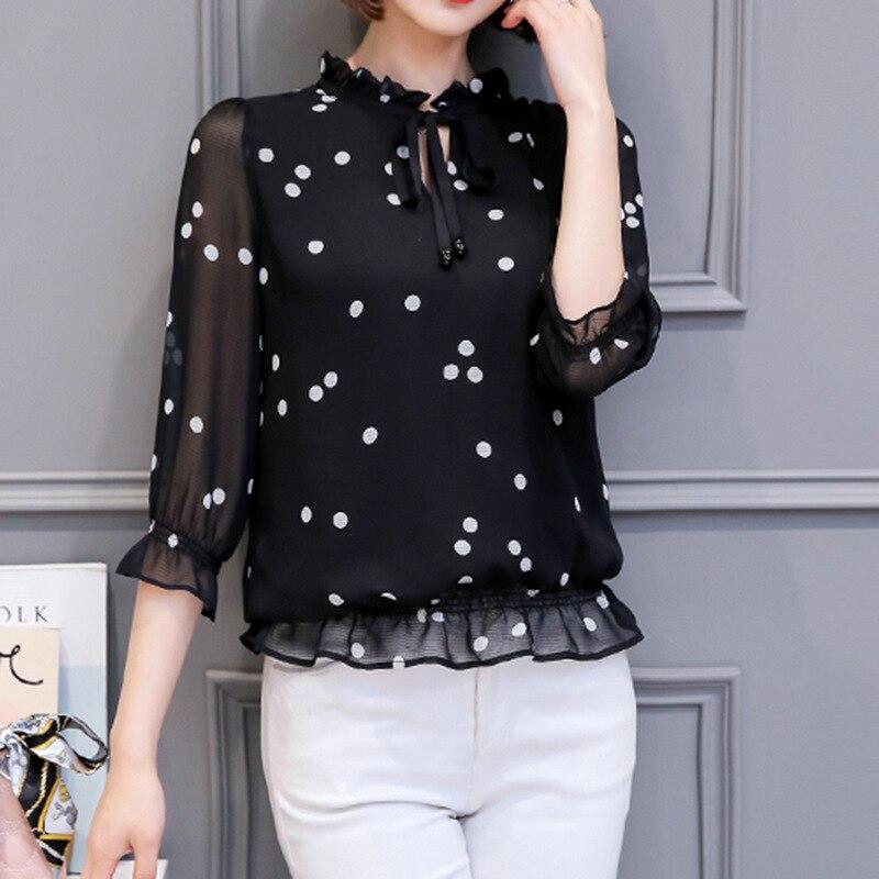 2018 Spring Summer Chiffon Blusa Tunic Feminina Polka Dot Print Bow Korean Office Chiffon   Blouse     Shirt   Plus Size White Black Top