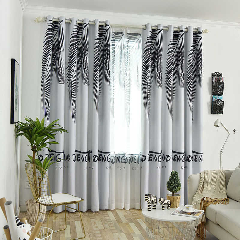 Nordic Style Curtains Fabric Backout Shading Curtain For Bedroom Living Room Green Phoenix Leaf Window Screen Sheer Tulle Drapes