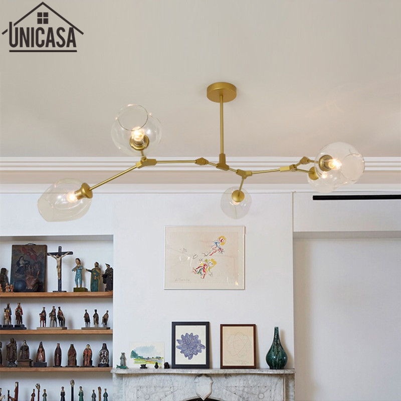 Modern pendant lights kitchen for home decoration lighting Bar elegant light Postmodern golden celling lamp clear glass lamps e26 e27 socket pendant lamp modern pendant lights lamp 110 220v classic pendant light for home coffee bar lighting decoration