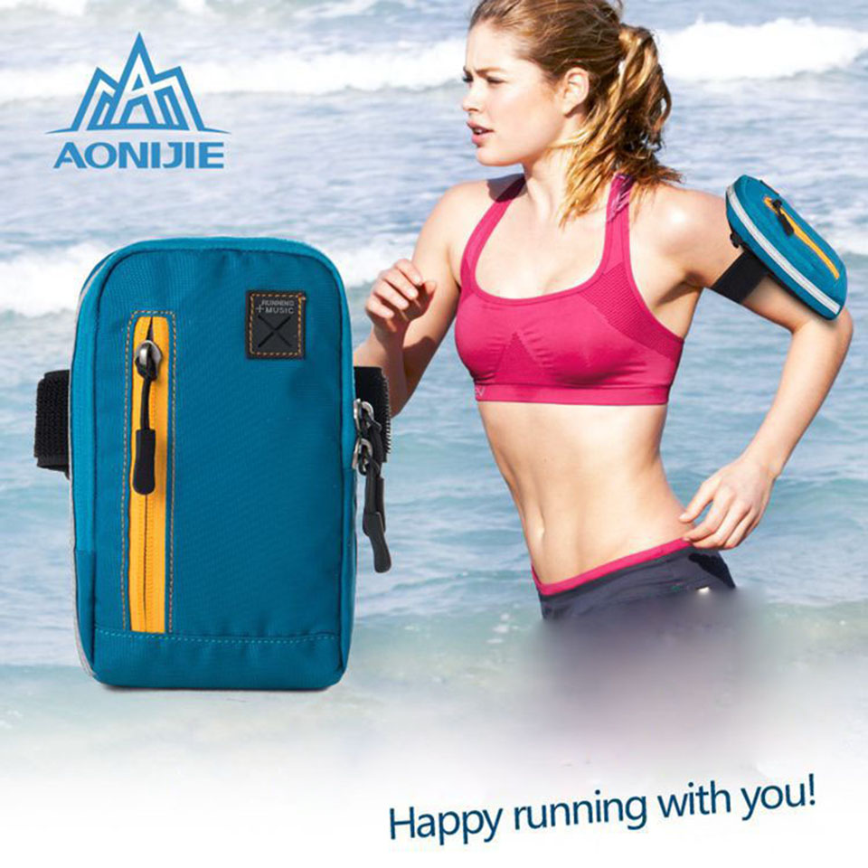 AONIJIE Universal Arm Bag Cases For iPhone 6 inch Coins Purse Sports Phone Mobile Wallet Key Package With Arm Shoulder Strap