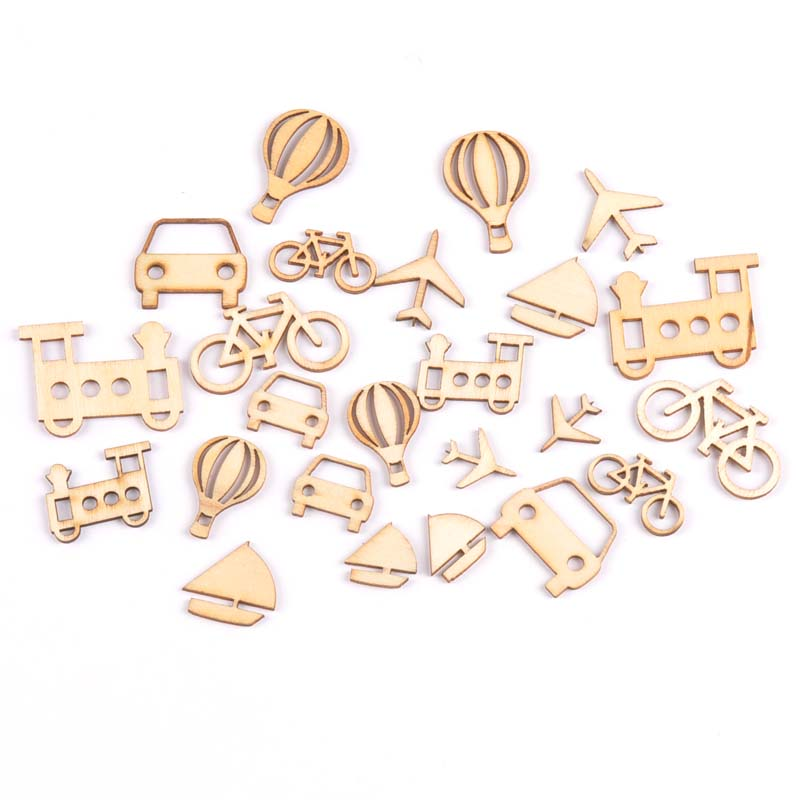 24Pcs Mixed Mini Vehicle Natural Wooden Scrapbooking Craft For Embellishments Handmade Diy Accessory Decor 10-25mm MT1700
