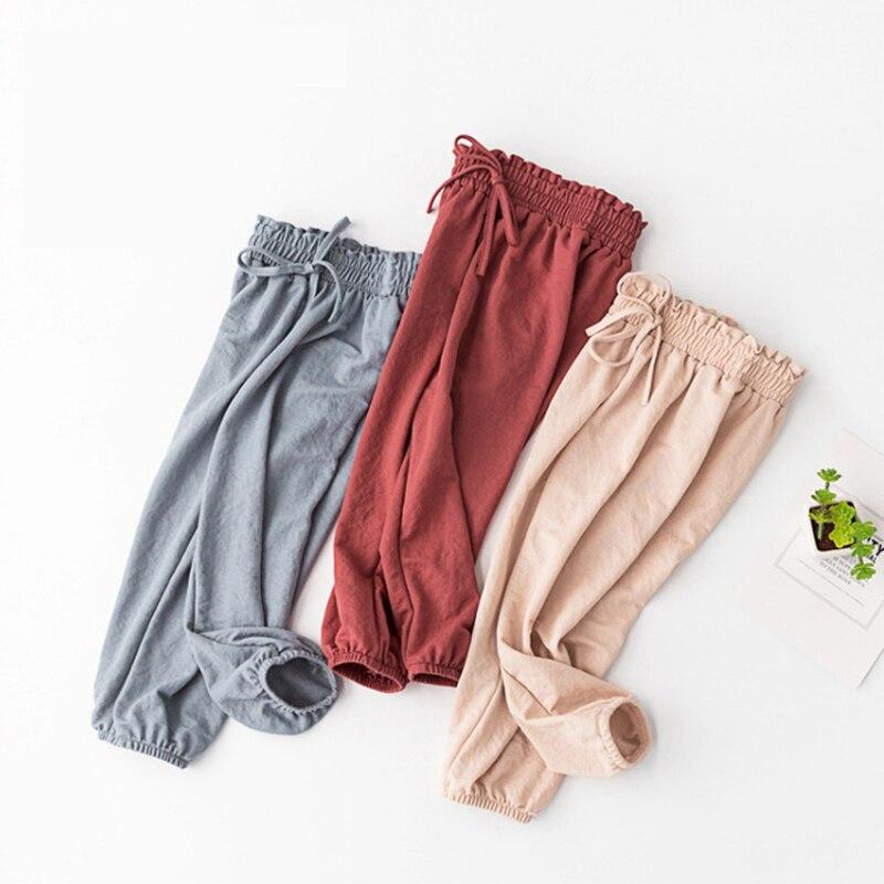 Pantalones de viaje de Caracol 2-7 años para niños y niñas a prueba de mosquitos pantalones para niñas pantalones 100% algodón altura: 90 cm-140 cm 2018 nuevo