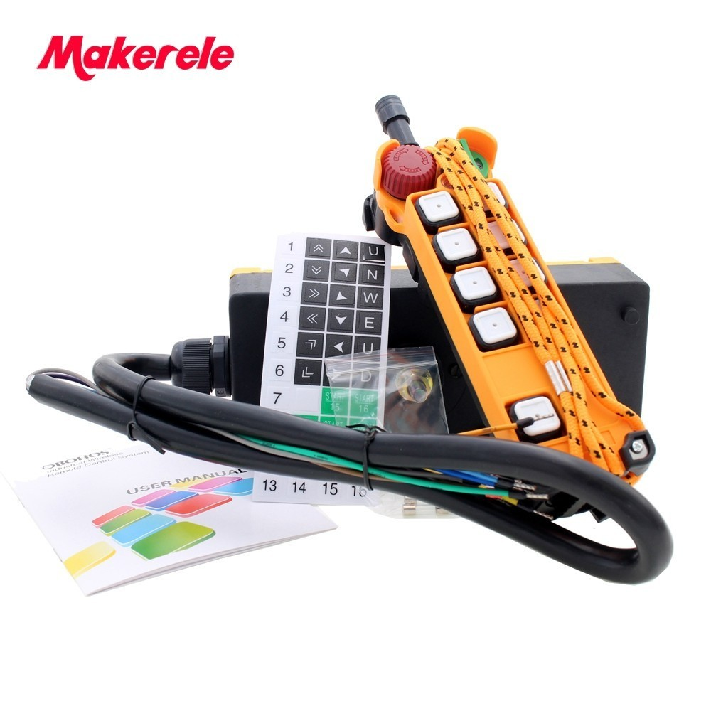Industrial remote controller Hoist MKHS-8S Crane Control Lift Crane 1 transmitter + 1 receiver quality assurance 6 channeis 1 speed control 2 motor crane industrial remote control mkhs 10 1 wireless transmitter ip65 degree