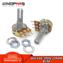 5pcs WH148 3PIN 20MM B1M 1M OHM Single Rotary Potentiometer Pots Shaft 20MM With Nuts Single couplet potentiometer