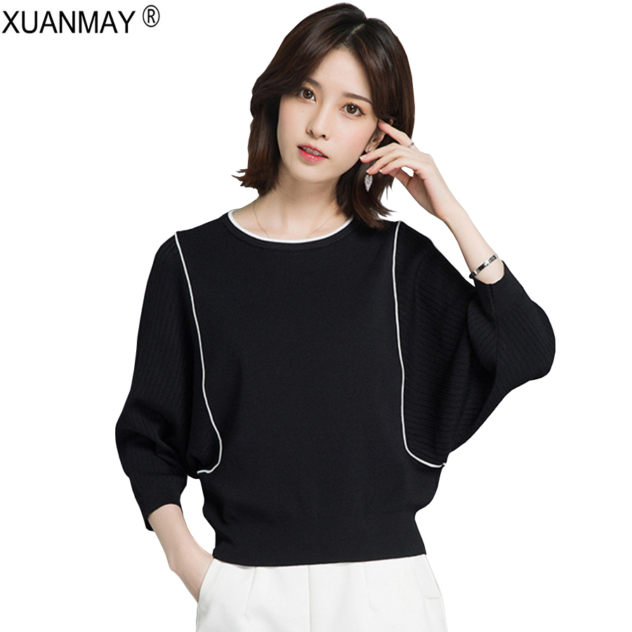 Spring Round Neck Striped Knit Sweater Fashion And Elegant White Sweater 2019 Brand Design Black Spring Knitting Sweater Woman