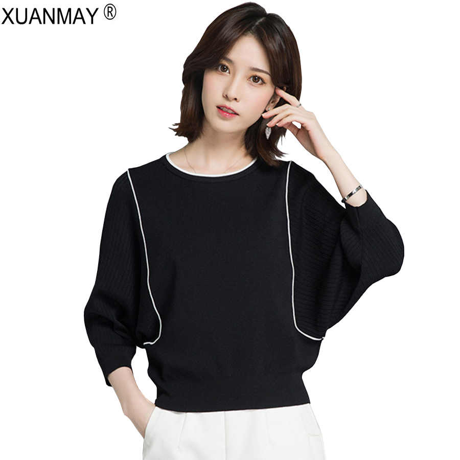 Spring Round neck Striped Knit Sweater Fashion and elegant White Sweater 2019 Brand Design black Spring Knitting Sweater woman