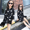 Kids Girls New Korean Spring Waist Long Windbreaker Hot Kids Clothing Stars Printing Black