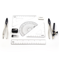 Study 10 Piece Compass And Geometry Kit With Shatterproof Box Drafting Tools In Centimeters And Inches