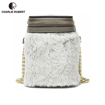 Elegant Dress  Leather Velour Women Lady Shoulder Bags 2019 New Hot New Spring Style Solid Bucket Crossbody Bags