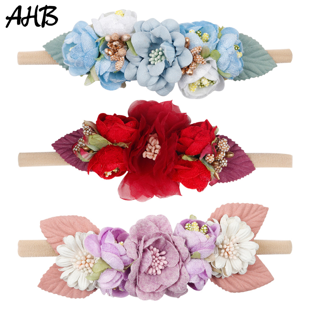 AHB Chic Fake Flowers Nylon Headband for Baby Girls Hair Band Photography Props Floral Elastic Head Wrap Kids Accessories