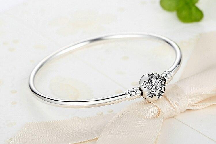 Pulseira 925 Sterling Silver Bracelet Femme Snowflake Heart Blue Eye Femme Snake Chain Bracelets & Bangles Women Jewelry 4