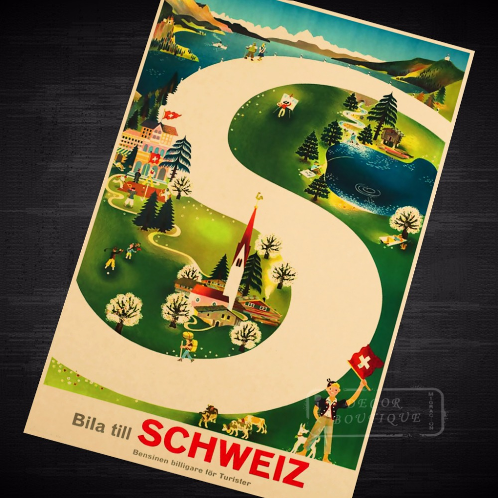 S type road Seaview Mountain View Switzerland Travel Series Vintage ...
