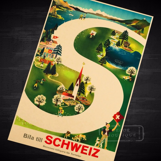 S type road Seaview Mountain View Switzerland Travel Series Vintage ...