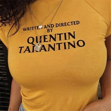 US $5.75 46% OFF|2018 Fashion Quentin Tarantino Sexy Crop Tops Women Side Stripe Short Sleeve Cotton Yellow Goth Art Slogan 90s Tees Tshirt Lady-in T-Shirts from Women's Clothing on Aliexpress.com | Alibaba Group