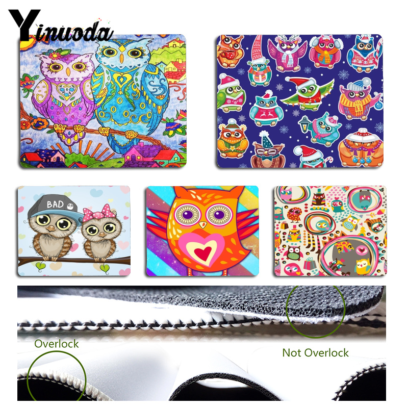 Yinuoda Non Slip PC Cute owl Customized laptop Gaming mouse pad Size for 180x220x2mm and 250x290x2mm Rubber Mousemats