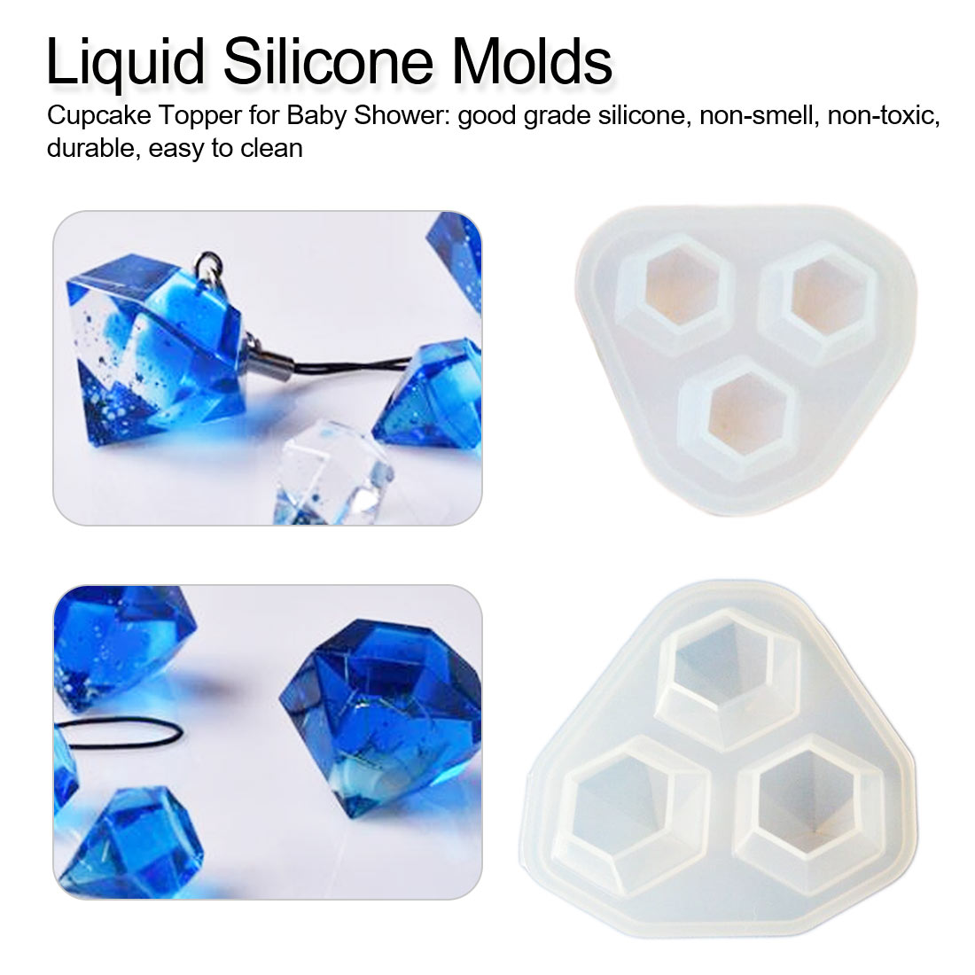 DIY Crystal Epoxy Diamond Silicone Mold Handmade Soap Form Chocolate Mold Candy Bar Fondant Molds For Cake Decorating