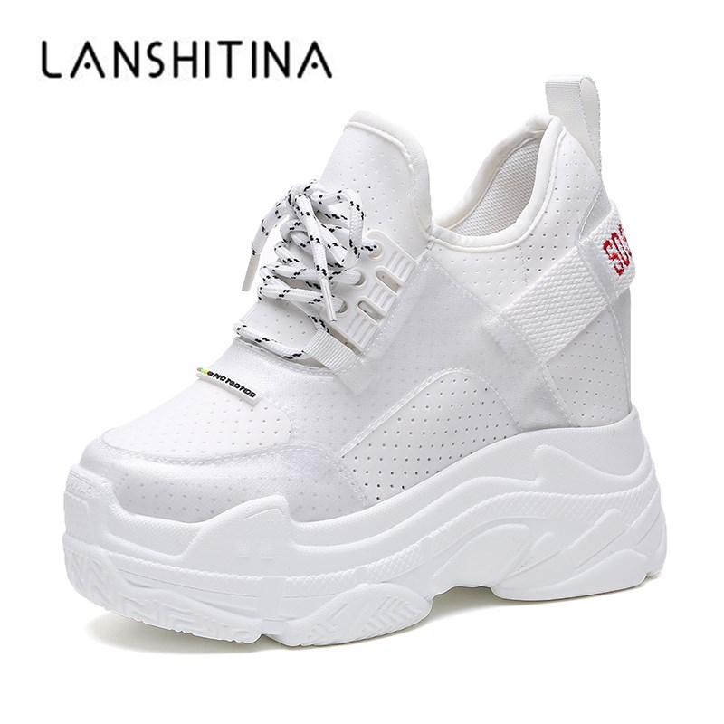 2019 Summer Women Sneakers Mesh Casual Platform Trainers White Shoes 12CM Heels Wedges Breathable Woman Height Increasing Shoes