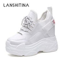 2019 Summer Women Sneakers Mesh Casual Platform Trainers White Shoes 12CM Heels Wedges Breathable Woman Height Increasing Shoes 2018 wedges sneakers for women casual shoes summer breathable mesh sneakers white platform shoes woman ladies shoes swing