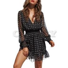 CUERLY Lace Mesh Long Sleeves Dress Black V-Neck Polka Dot Dress Women 2019 Spring Casual Ruffles Sexy Short Dress Vestidos