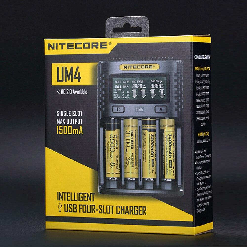 Бесплатная доставка Nitecore UM4 умный USB ЖК-дисплей батарея зарядное устройство литий-ионный IMR LiFePO4 18650 14500 26650 автоматический универсальные заря...