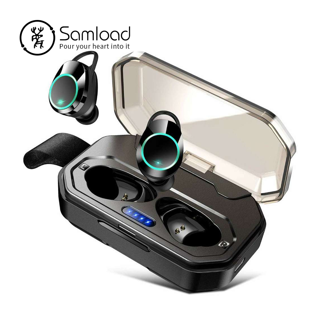 Samload Wireless Headphones Touch control Bluetooth 5 0 Earbud IPX7 Waterproof Earphone with 3000mAh Power bank