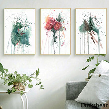 цена на Canvas Painting  Watercolor Plants and Flowers Nordic Posters Home Decor Wall Art Canvas Print For Living Room Modular Pictures