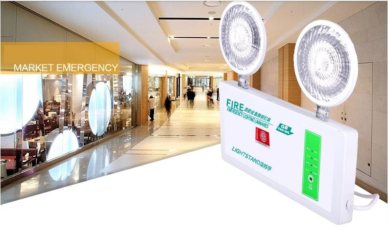 Engineering Style Double Heads Fire Emergency Light Isointernational Led Charge Lamp Lighting Evacuation Indicator