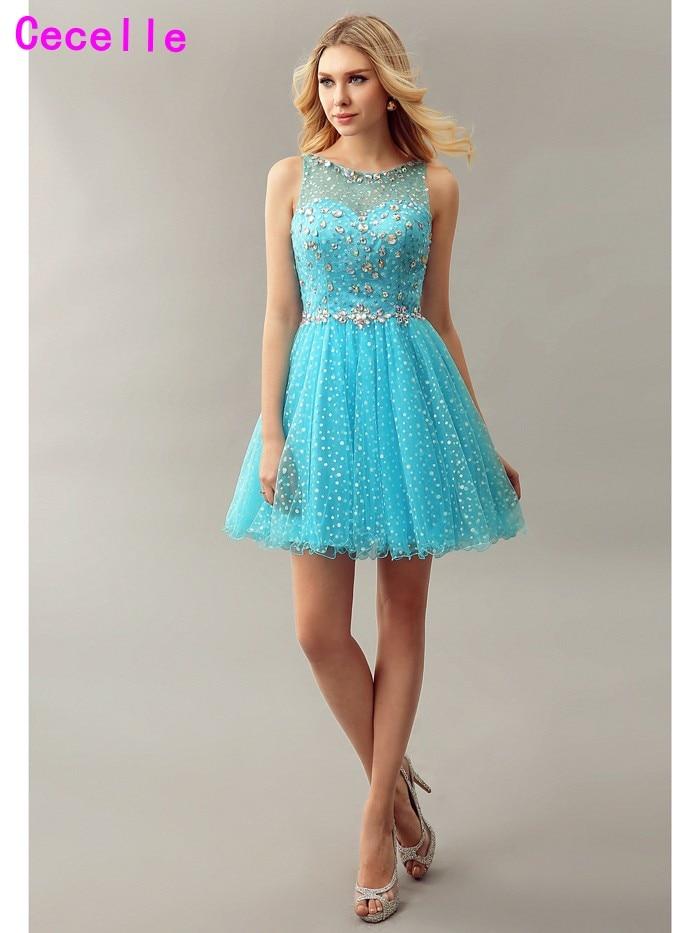 Sparkly Blue A Line Short Girls Cocktail Dresses For Juniors Crystal