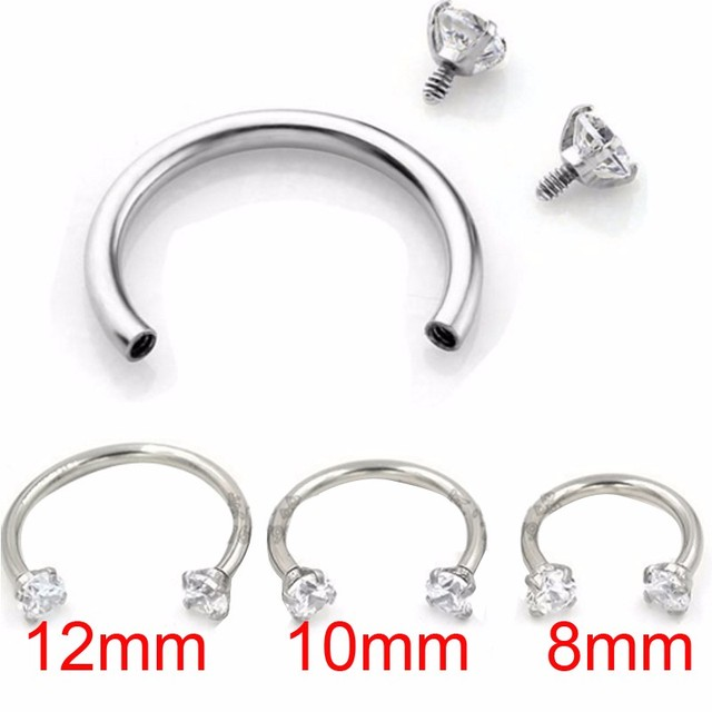 1 Piece 16G 1.2mm Stainless Steel Round Eyebrow Earring Cubic Zircon Internally Threaded Nose Ring Body Piercing Jewelry