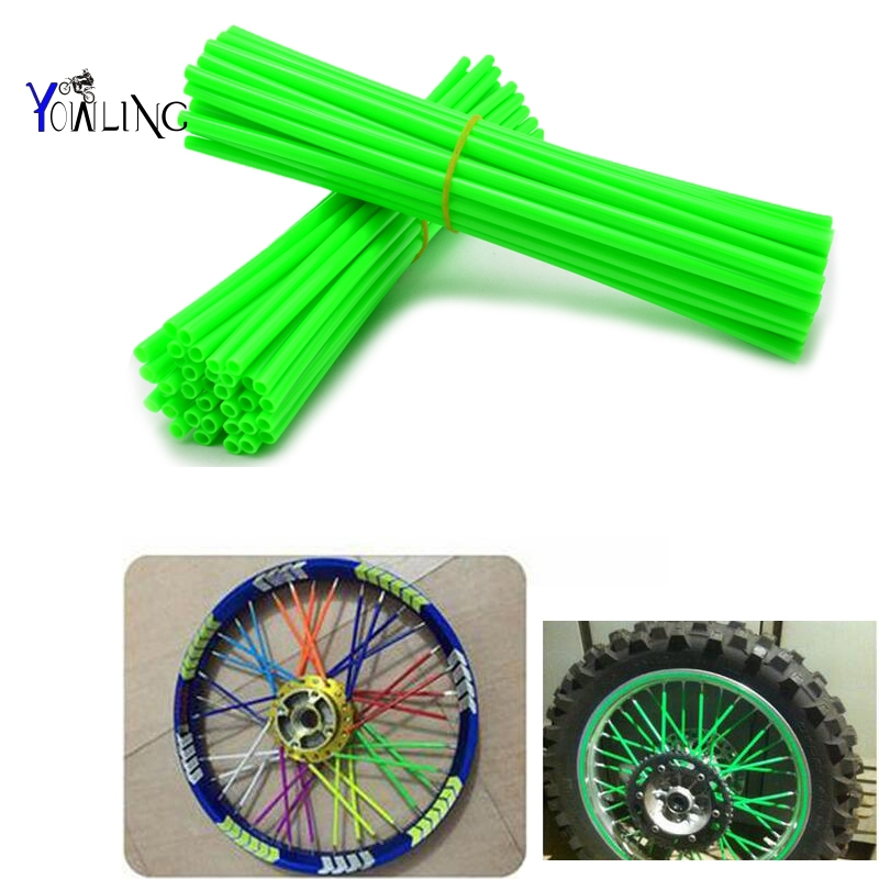 ONE Set Of Moto Dirt Bike Enduro Off Road Wheel RIM Spoke Skins Covers For KAWASAKI 500 KX 450 KLX250 KLX450R KLR650 SUZUKI DRZ4