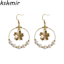 Female romantic cherry blossoms pearl pendant circle earrings stud Contracted joker ladies fashion ear clip