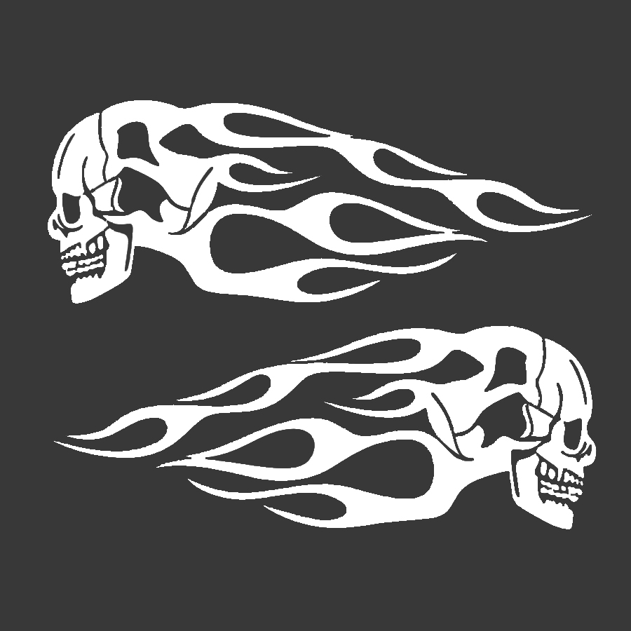 Us 5 85 15 Off Motorcycle Skull Flame Stripes Sticker Gas Tank Vinyl Decal Universal White Personal Motorcycle Modeling 34x12 7cm In Car Stickers