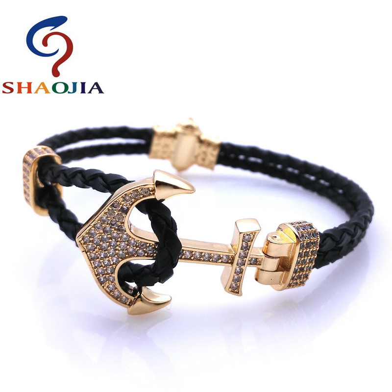 SHAOJIA Fashion Hot Sales Brand Jewelry Micro-zircon Mens Bracelet Boat Anchor Leather Bracelet Rope Vintage Cuff Bracelet