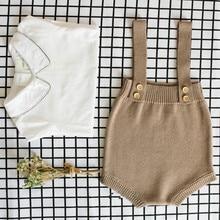 Новинка года, детские вязаные детские комбинезоны милые комбинезоны одежда для новорожденных мальчиков Детский комбинезон без рукавов для маленьких девочек и мальчиков, комбинезон на возраст от 0 до 24 месяцев