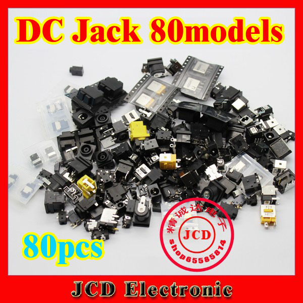 Best price 80models 80pcs/lot Laptop dc jack tablet pc power socket mid power jack 0.7 1.35 1.65 2.0 2.5 pin all in it 100% new 1 3mm pin dc power jack socket for tablet pc power jack connector