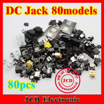 Best price 80models 80pcs/lot Laptop dc jack tablet pc power socket mid 0.7 1.35 1.65 2.0 2.5 pin all in it