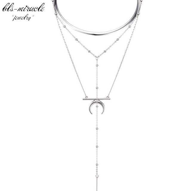 bls-miracle punk fashion jewelry accessories Trendy Multi-layer moon  pendant with Torques Necklace nice gift  for lover N559