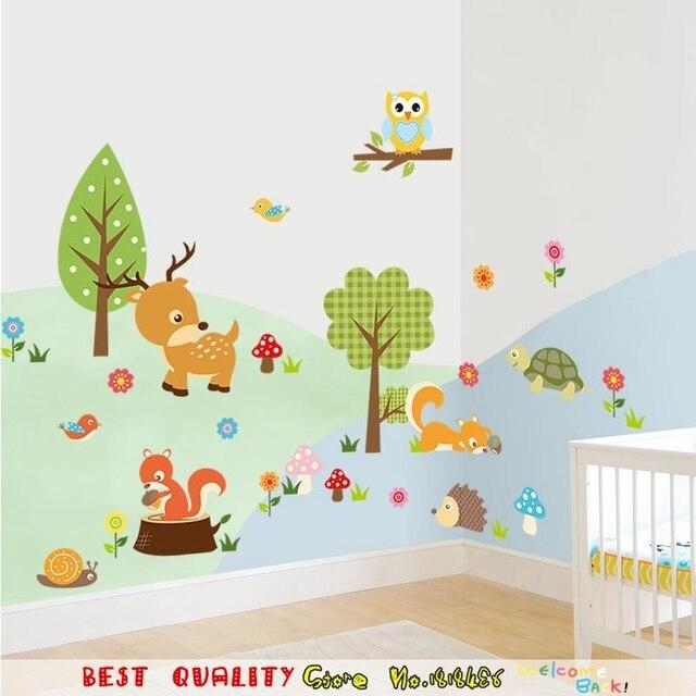 Lovely Zoo Dschungel Tiere Wandaufkleber Kinderzimmer Dekoration Weihnachten  Geschenke Liefert Haus Aufkleber Cartoon Wand Papier Handwerk Wand Pictures Gallery