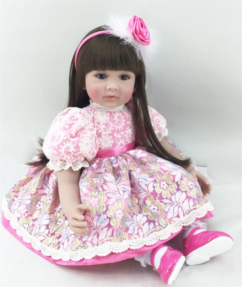 Pursue 24/ 60 cm New Handmade Silicone Reborn Toddler Girl Dolls for Kids Gift Toys Cotton Body Doll for Christmas Gift Doll 35cm handmade chinese ancient costume dolls peking opera lady du dolls bjd girl doll toys christmas gifts