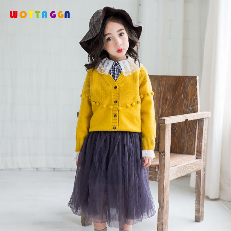 WOTTAGGA Girls Sweater Knit Autumn 2018 Solid Balls Long Sleeve Fashion Cardigan Knitted 3-7Y New Kids Clothing fashion long sleeve solid color pockets cardigan for women
