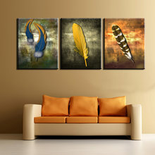 Wall Pictures 3pcs Colourful Feathers Wall Painting Print On Canvas For Home Decor Posters and Paints Pictures Art No Framed(China)