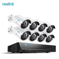 Reolink Home Video Surveillance Sytem 16 Channel 4MP PoE NVR Kit W 8 Outdoor IP Bullet